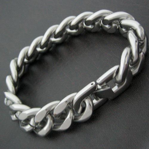 Fabriek prijs 15mm sterke mannen sieraden set hoog gepolijst roestvrij staal zilver enorme Cubaanse ketting kettingbracelet, geweldige geschenken, vrije sh