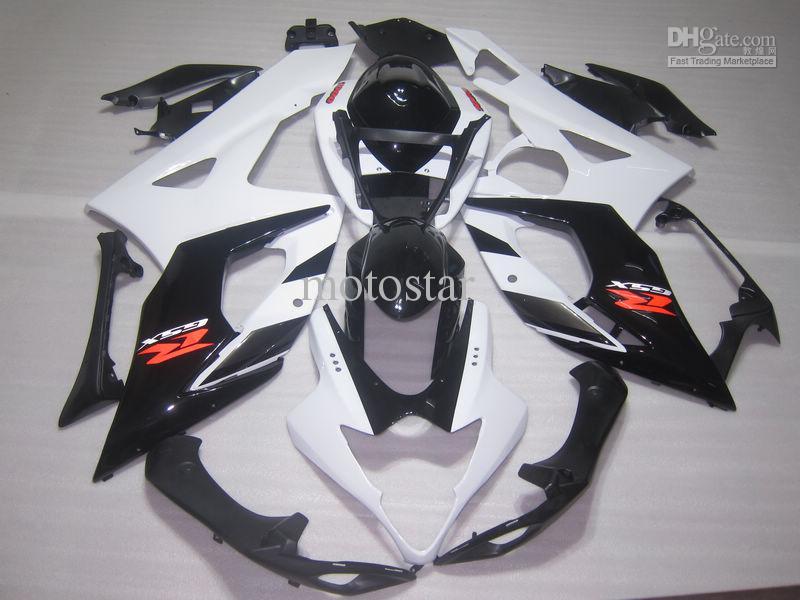 7 Presenter + SEAT COWL Vit Svart Fairing Kit för SUZUKI 2005 2006 GSX-R1000 K5 GSXR1000 GSXR 1000 05 06 FAININGS KITS + Vindruta