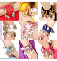 Wholesale Wholesale Belly Dance Wear - Belly Dance Wear Wrist Ankle Arm Cuffs Bracelets Match Hip Scarf Wrap Dancing Accessories#C1018