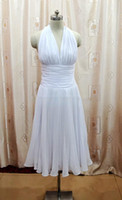 Wholesale White Tea Bridesmaid Dresses - Wholesale-Sexy Halter V-neck A-line Ruffle Open Back White Tea Length Bridesmaid Dress Maid of Honor Dress Real Picture
