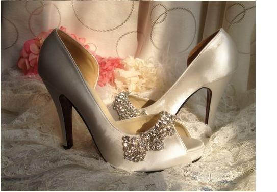 Womens Satin Rhinestone Peep Toes Platform Pumps Wedding Evening Party High Heels Sandals Shoes Lady Formal Dress Shoes