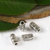 ingrosso perline in argento-50 pezzi tibetani in argento 4 lati 10mm perline / distanziatori H2685