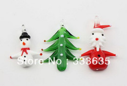 Wholesale Murano High - High-Quality 24pcs Hot Fashion Colorful 3D Flower Father Christmas Lampwork murano glass pendant necklace jewelry Free Shipping