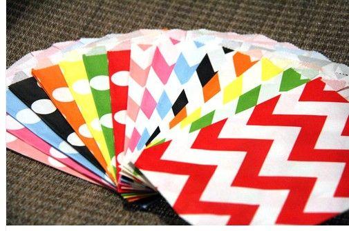 Bolsas de papel para regalos de regalo Bolsas de comida para fiestas Bolsas de papel de regalo de Chevron Craft Bolsas de palomitas de maíz Lunares Middy Bitty Food Bolsas de papel para manualidades de papel plano seguras