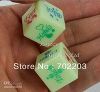 Wholesale Sex Glow Dark - Free Shipping Plastic Adult Sex Game Glow in the Dark Dice Erotic Bachelor Party 1.8cm 6 Sides