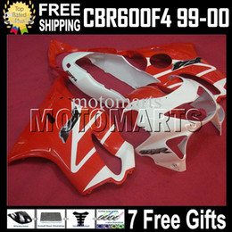 Wholesale 99 cbr f4 fairings - 7gifts for red white HONDA CBR600f4 99-00 f4 FS CBR600 F4 99 00 F4 CBR 600 F4 1999 2000 1999-2000 MT118 CBR600F4 600F4 ABS Fairing