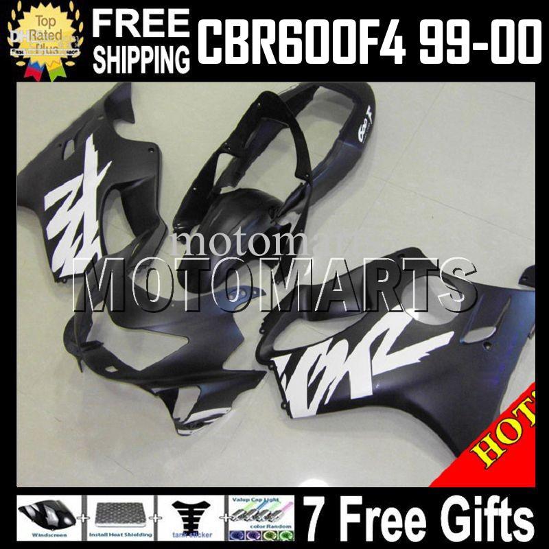 Verkleidung für HONDA CBR600f4 99-00 f4 FS 7gift Flat schwarz CBR600 F4 MT127 CBR600F4 CBR F4 600F4 99 00 1999 2000 1999-2000 Mattschwarz