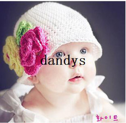 Red Ear Muffs Baby Girl Canada - Pins 2 flower 2 knitted hat child hat handmade large flower cap lint-line baby hat