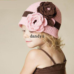 Wholesale Ear Cap Coffee - Coffee flowers pink flower autumn and winter cotton baby child baby yarn pocket thermal hat handmade cap female