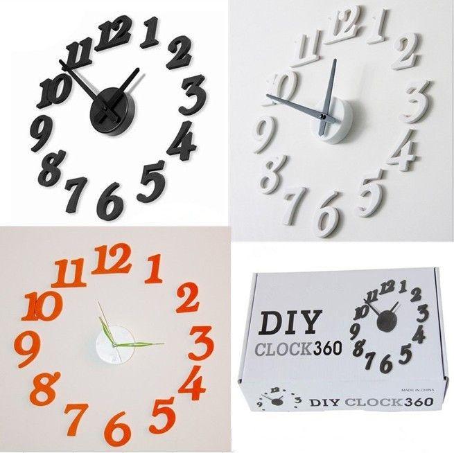 New Design Funny Clock Simple Diy Wall Clocks Black Morden House