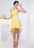 Wholesale High Low Bridesmaids Dresses - Sexy A-line Halter Empire High Low Chiffon Bridesmaid Dresses Backless Yellow Cocktail Dresses Wedding Party Dress Maid of Honor Dress