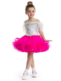 Wholesale Lime Green Short Ball Gown - free shipping FF3899 short ruffled feather lime  whitepink flower girl dress