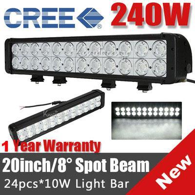 "NEW 20"" 240W CREE 24LED*(10W CREE) Work Light Bar Off-Road SUV ATV 4WD 4x4 Spot Flood Combo Beam 24000lm IP67 Driving Truck Lamp 9-70V 2 Row"