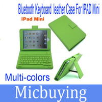 Wholesale Green Ipad Keyboard Cover - Keyboard Leather Case With Bluetooth For IPad Mini Stand Holder PU Case Cover Colorful 1pcs