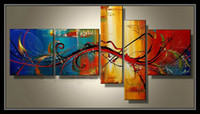 Wholesale Large Fashion Painting - Framed 5 Panel 100% Handpainted Large 5 Panel Paintings Canvas Art Wall Decoration Picture XD01434