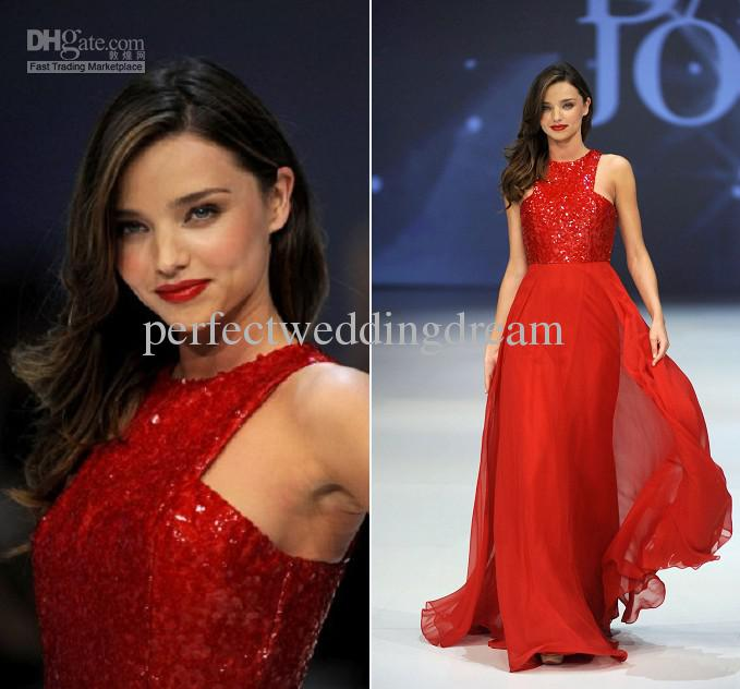 bd4e21ee0 Miranda Kerr David Jones Spring Summer Fashion Show Red Sequined Prom Gown  Dress Floor Length A Line Celebrity Dress Celebrity Prom Dresses Custom  Prom ...