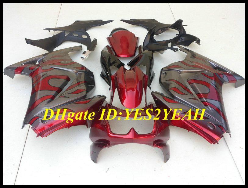 Kit carena iniezione KAWASAKI Ninja ZX250R ZX 250R 2008 2012 EX250 08 09 10 11 12 Carenatura grigio rosso set KH25