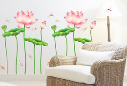 Wholesale Lotus Decals Stickers - 1PCS Lotus dew Dragonfly Wallpaper DIY WALL DECALS Stickers Home Deco 60x90cm #23231