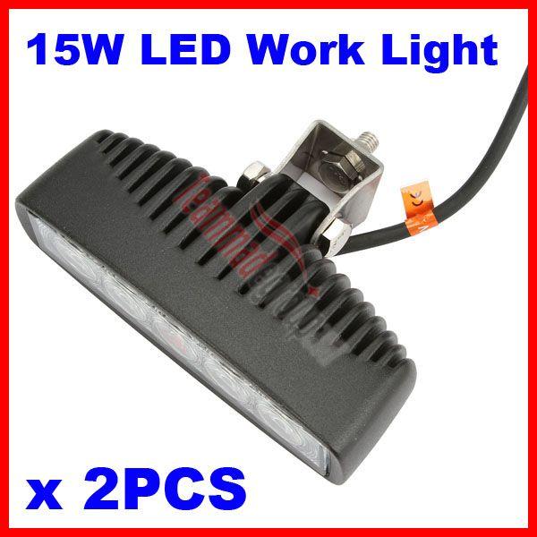"2 x 5.5"" 15W 5-LED*(3W Epistar) LED Work Light Mini Bar Off-Road SUV ATV 4WD 4x4 Jeep Boat Driving Spot Flood Beam 1150lm 9-32V Truck Lamp"