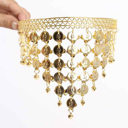 Wholesale Hair Accessory Cards Wholesale - BHeart-shaped hair accessories belly dance headdress hanging bells card issuers golden hair bands women costumes accessories #C1051