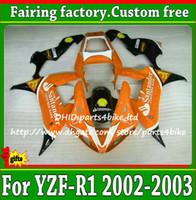 yamaha aftermarket groihandel-Freeship schwarz / orange Verkleidungssatz für YAMAHA YZF R1 2002 2003 hochwertiger Aftermarket YZF-R1 YZFR1 02 03 ABS Verkleidungskit mit 7 Geschenken ah34