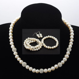 Wholesale Three Piece Pearl Bridal Sets - Wedding Dress Necklace Earring Party Jewelry Set Bridal Three-piece Pearl Necklace Earring Bracelet Set [JN04011]