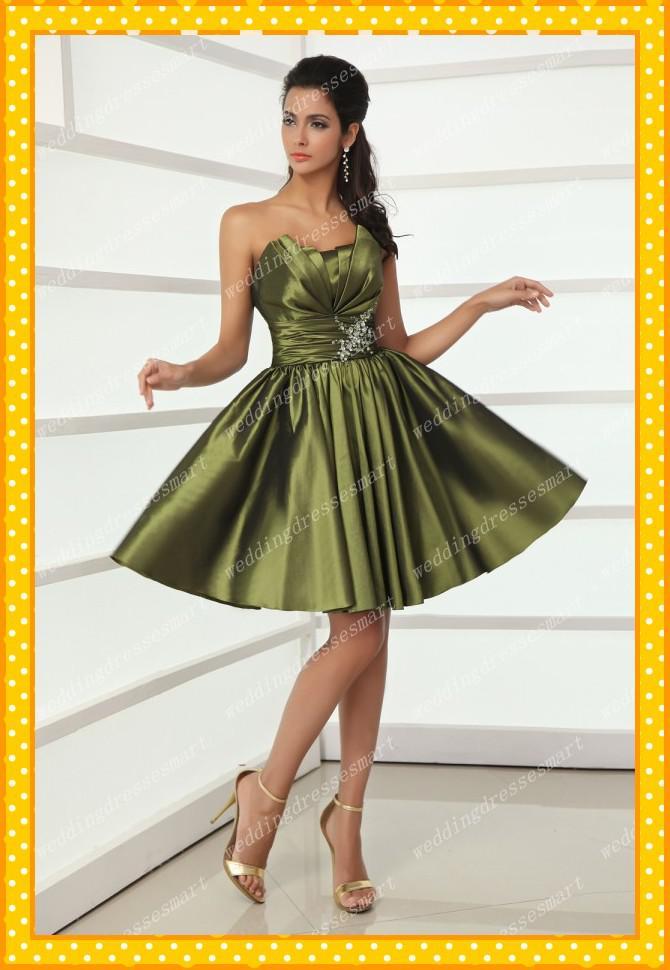 Vestidos cortos color verde olivo