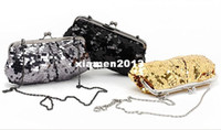 Wholesale New Fashion Noble and elegant glittering sequins iron Clutch Hand bag Evening bag