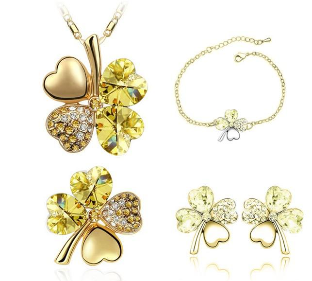 Wholesales Austrian Crystal Clover 4 Leaf Leaves Pendant Necklace Earrings Bracelet Brooch Jewelry Set 9554