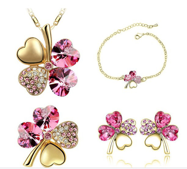 Free Shipping Wholesales Austrian Crystal Clover 4 Leaf Leaves Pendant Necklace Earrings Bracelet Brooch Jewelry Set 9554