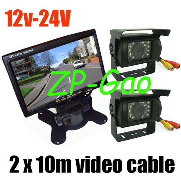 "best selling 2x IR Reversing Backup Camera For Bus Long Truck + 7"" LCD Monitor Car Rear View Kit 12v- 24v"