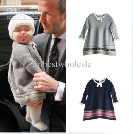 Baby Girls Knit Dress Brocarde Dress with a Fur Collar Cashmere ...
