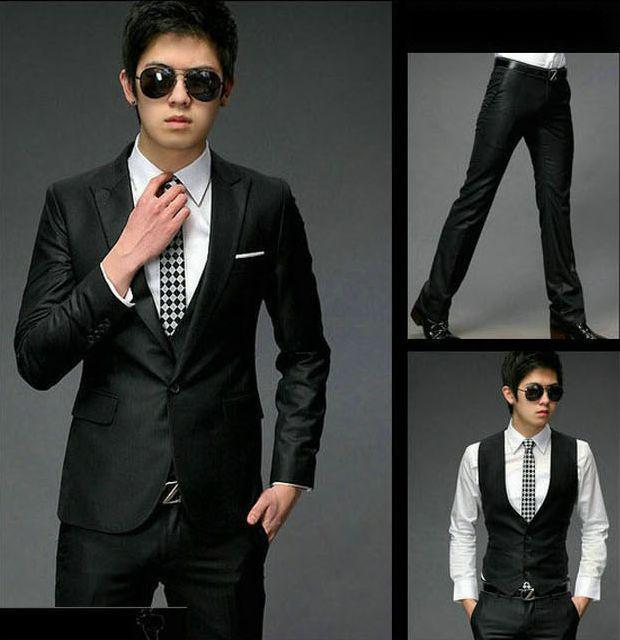 2018 2013 Men Business Suit New Mens Slim Fit 2 Button Three Piece ...