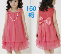 Wholesale Chiffon Children S Dresses - Older children girl princess dress lace bow chiffon dress + necklace