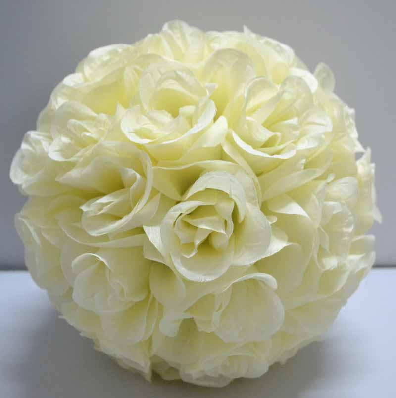 Artificial silk kissing open roses flower ball ivory cream for Where can i buy rainbow roses in the uk