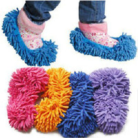 Wholesale Slippers Set Mop - chenille shoes cover slippers set mop wigs clean shoes cover slippers Mops