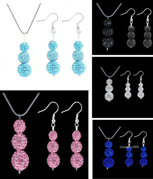top popular ladies 3*10mm Shambhala beads Micro Pave Disco Crystal Ball 925 silver earrings & necklace 5sets 2020