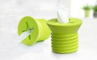Wholesale box covered toilet tissue holders resale online - Creative Plastic Screw Design Tissue Box Toilet Tissue Holder Wall Paper Cover White Pink Blue Green Yellow Colors