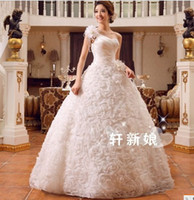 Wholesale One Strap Organza Wedding Dresses - 356 new fashionable sexy multi flowers one shoulder ball gown bridal gowns 2017 custom made plus size wedding dress dresses