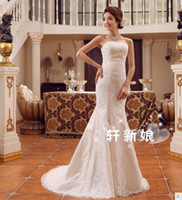 Wholesale Strapless Hourglass Wedding Dress - 358 Custom Made vestido de noiva plus size fashionable sexy fish tail embroidery mermaid Lace 2016 wedding dress bridal gowns dress