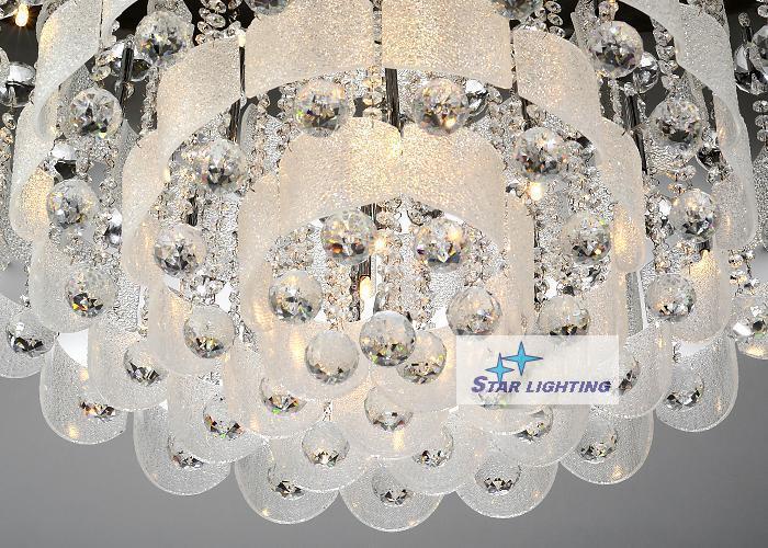 50cm Modern LED Glass Crystal Flushmount Ceiling Light Lamp Lighting Chandelier