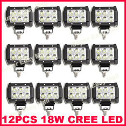 "Wholesale Rectangle Offroad Led Lights - 12PCS 4"" 18W 6LED*(3W) CREE LED Working Light Bar Offroad SUV ATV 4WD 4x4 Spot   Flood Beam 9-32V 1600lm IP67 JEEP Motorcycle Head Lamps 4D"