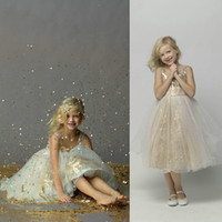 Wholesale Golden Pageant Girl Dress - 2014 Glamours Sparkling Kids Pageant Dresses Golden Sequin A Line Girls Pageant Dresses Flower in Size 10 Girl Dresses Style 44379 dhyz 03