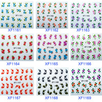 Wholesale Sticker Plastic Flower - Hot Sale Pretty Nail Art Sticker Water Temporary Tattoos Watermark nail decals 20 types t5570