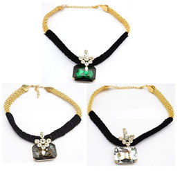 Wholesale Wholesale Green Ribbon Necklaces - New Fashion Gold Plated Ribbon Chain Clear Green Grey Big Crystal Choker Pendant Necklace 6pcs lot
