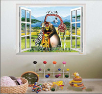 Wholesale Kids Room Comics Cartoon - The Madagascar Cartoon Window Comics Movies TV Wall decals Home Decor Removable Wall Sticker