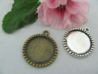 Wholesale Round Cameo Frames - DHLFree Shipping 25mm Antique Bronze Round Pendant Tray Cameo Setting Picture Frame 200pcs