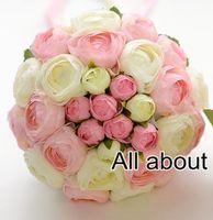 Wholesale Hand Bouquet Rose Pink - Free Shipping White Pink Tea Rose Flower Wedding Bridal Bouquet Bridesmaid Bouquet pink Throw Hand Flower