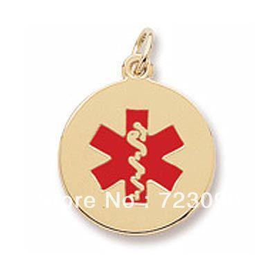 Envío gratis 10pcs mucho rodio plateado y oro 18k chapado en alerta médica Caduceo encantos rojo esmalte estrella de la vida