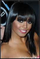 Wholesale dark celebrity hair resale online - 100 Virgin Brazilian human hair Celebrity inch Glueless front lace wig full lace wigs with bangs for black women